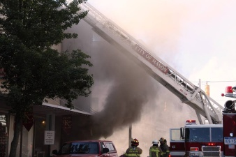 Smoke billows out of the Baja Grille restaurant that is attached to our building. (Photo: Mark Wooledge)