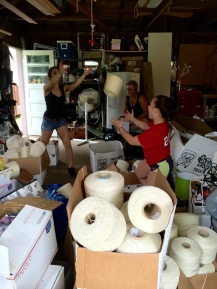 Inventory is much more fun when we can squeeze in a game of catch. Taylor, Dannica, and Fawn are on the job.