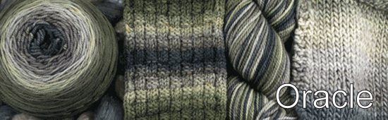 Oracle: The eyes are the window to the soul. It is said that an oracle can peer into your eyes and see your future. This colorway stares right back at you! Inspired by two of the prettiest eyes: Charcoal brightens softly into taupe and blends perfectly with stunning olive greens.